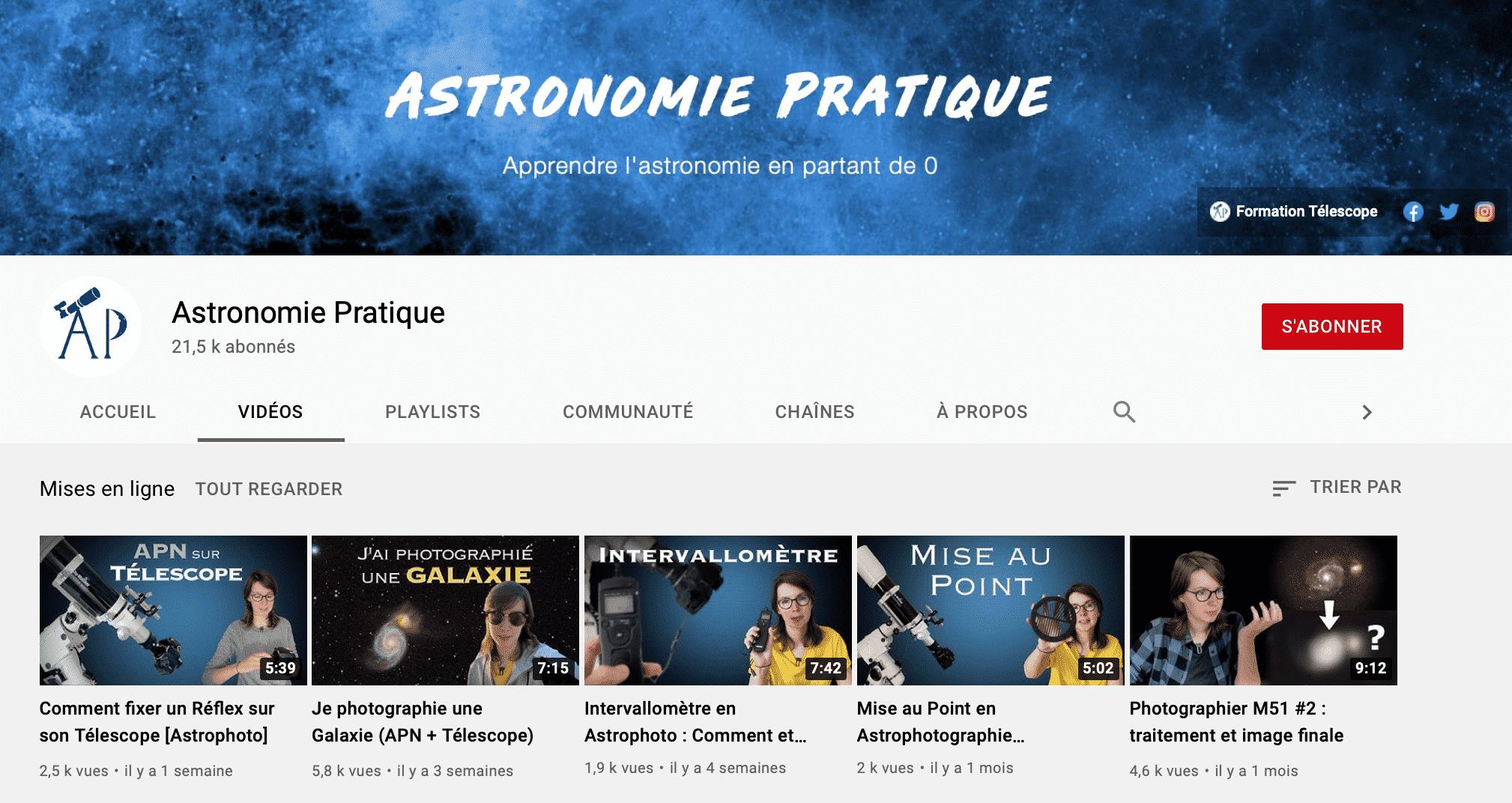 Chaine YouTube Astronomie Pratique